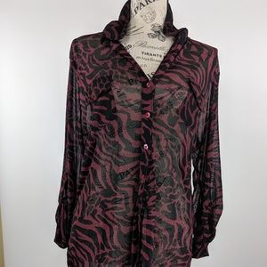 FRENCH LAUNDRY Animal Print button up Top Large